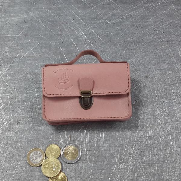 Porte monnaie cartable en cuir nude 36