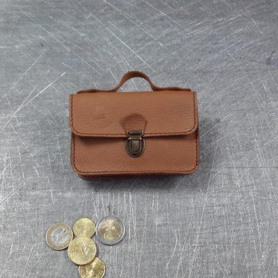 Porte monnaie cartable en cuir camel 37