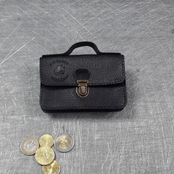 Porte monnaie cartable en cuir noir 38