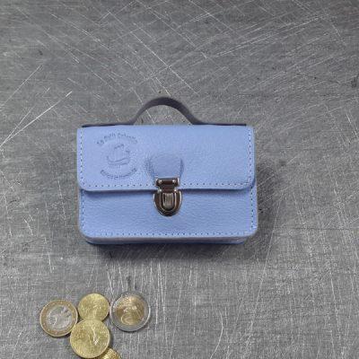Porte monnaie cartable en cuir bleu vista