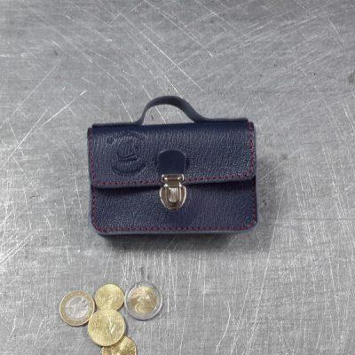 Porte monnaie cartable en cuir marine