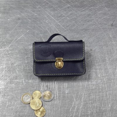 Porte monnaie cartable en cuir marine 44