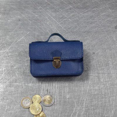 Porte monnaie cartable en cuir bleu roi 46