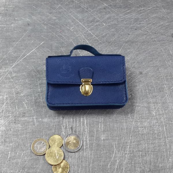 Porte monnaie cartable en cuir bleu roi 47