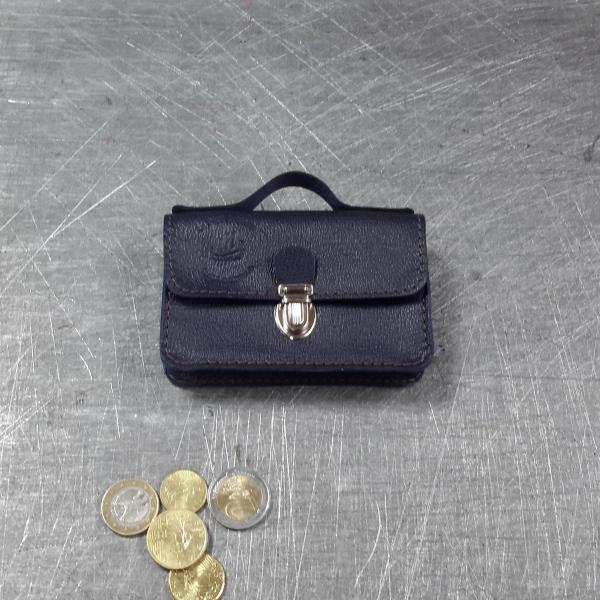 Porte monnaie cartable en cuir bleu marine 49