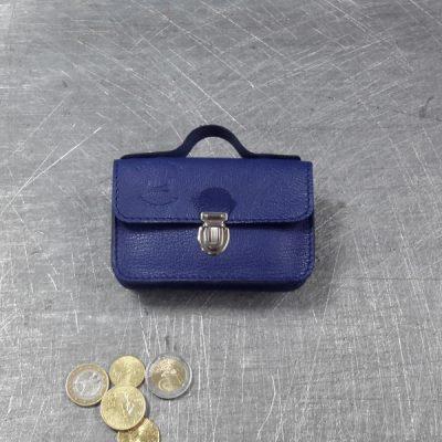 Porte monnaie cartable en cuir bleu roi 51