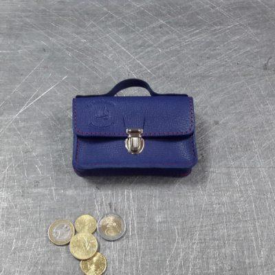 Porte monnaie cartable en cuir bleu roi 52