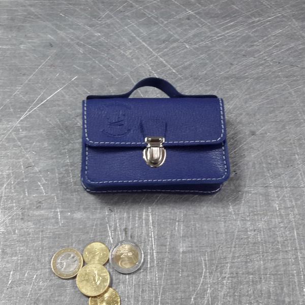 Porte monnaie cartable en cuir bleu roi