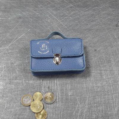 Porte monnaie cartable en cuir bleu grainé 54