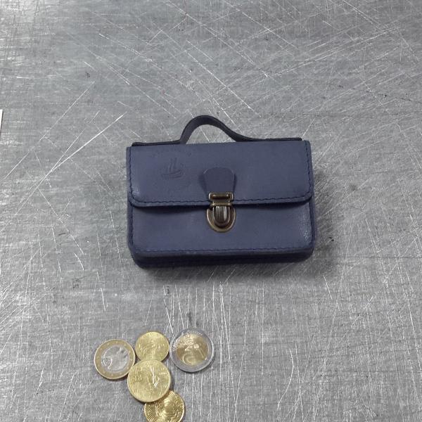 Porte monnaie cartable en cuir bleu orage 56