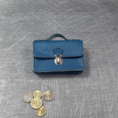 Porte monnaie cartable en cuir bleu canard
