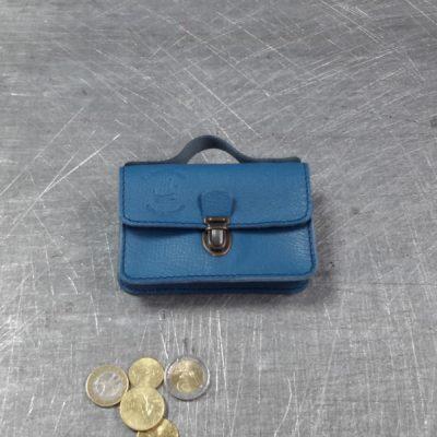 Porte monnaie cartable en cuir bleu canard 59