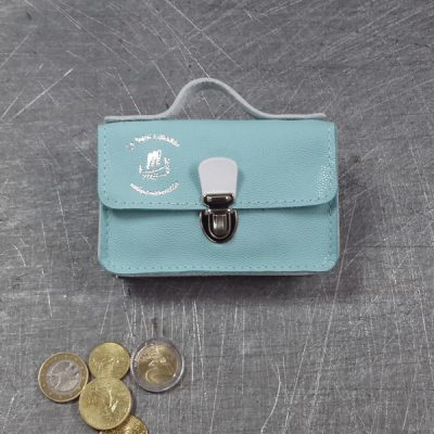 Porte monnaie cartable en cuir bicolore galuchat bleu ciel blanc