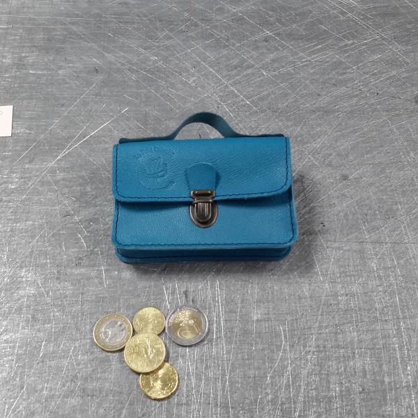 Porte monnaie cartable en cuir bleu canard 60