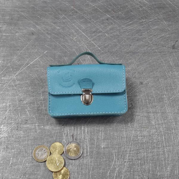 Porte monnaie cartable en cuir bleu ciel 62