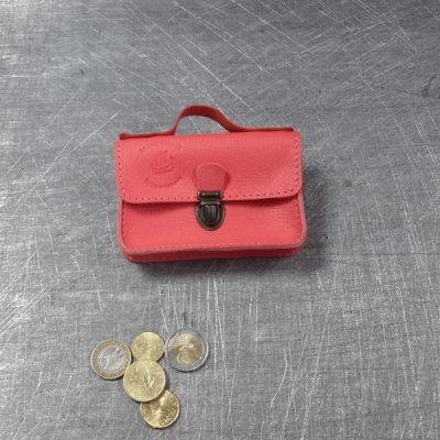 Porte monnaie cartable en cuir rose orangé 68