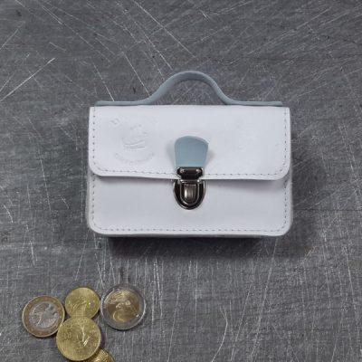 Porte monnaie cartable en cuir bicolore blanc bleu pâle