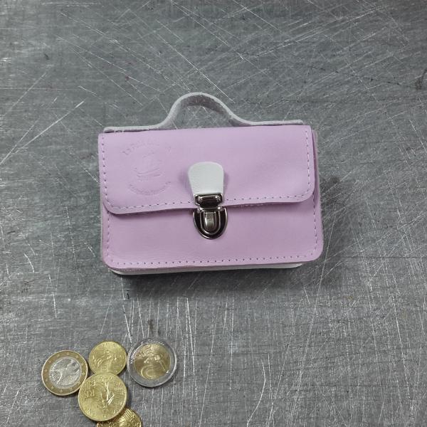 Porte monnaie cartable en cuir bicolore rose pâle blanc blanche nickel