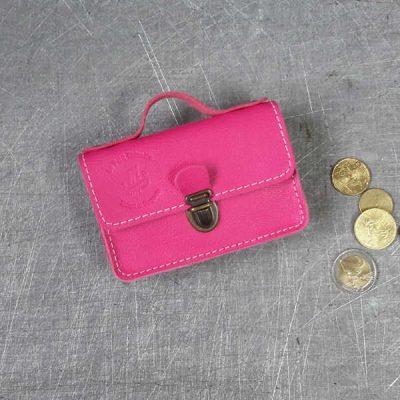 Porte monnaie cartable en cuir rose vif