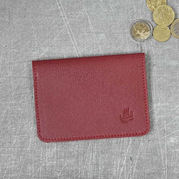 Porte cartes bordeaux - cuir grainé - GM