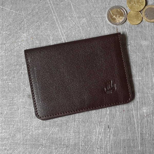 Porte cartes marron - cuir grainé - GM