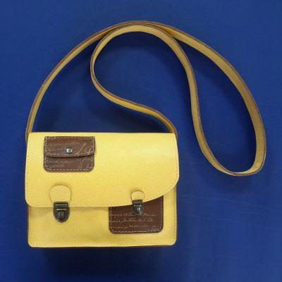 Décalé sac à main cuir jaune et imprimé marron