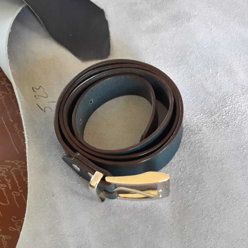 ceinture collet bleu pétrole made in france