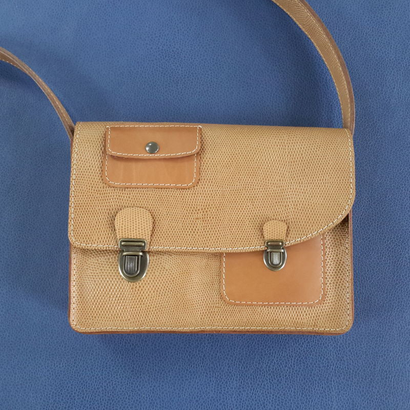 Décalé sac à main cuir bicolore marron