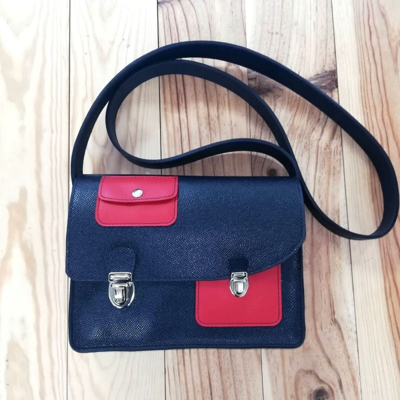 Decale sac a main cuir made in france bleu et rose