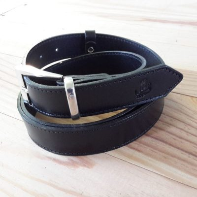 ceinture cuir collet noir 3cm made in France