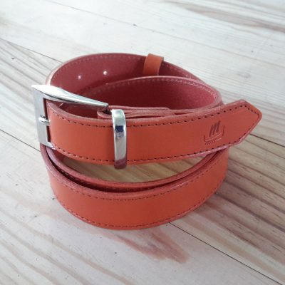 Ceinture cuir made in france collet orange