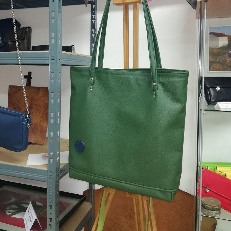 sac cabas en cuir grainé vert made in france