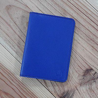 Protege passeport et carte cuir bleu roi