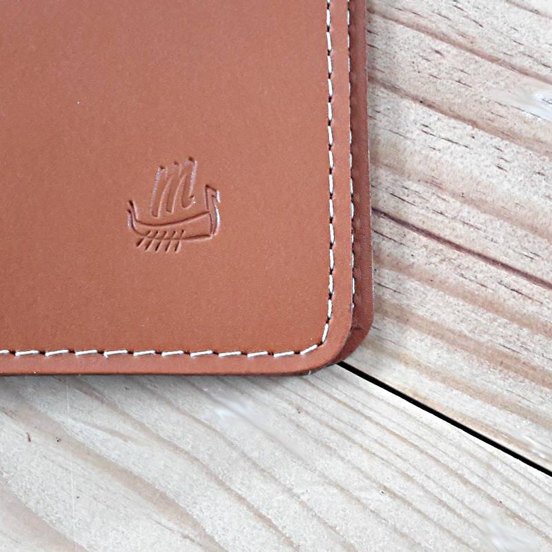 Protège passeport cuir pleine fleur marron