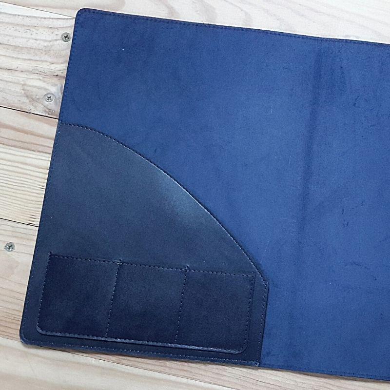 Protège cahier cuir avec cartes visite