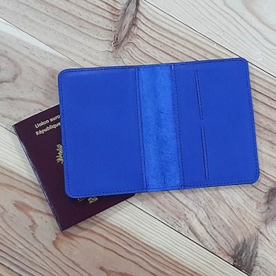Protege passeport et carte cuir bleu roi drakkar viking