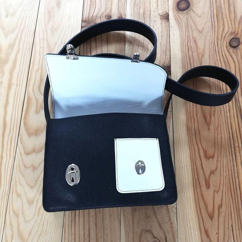 Decalé sac à main cuir made in france bleu et blanc