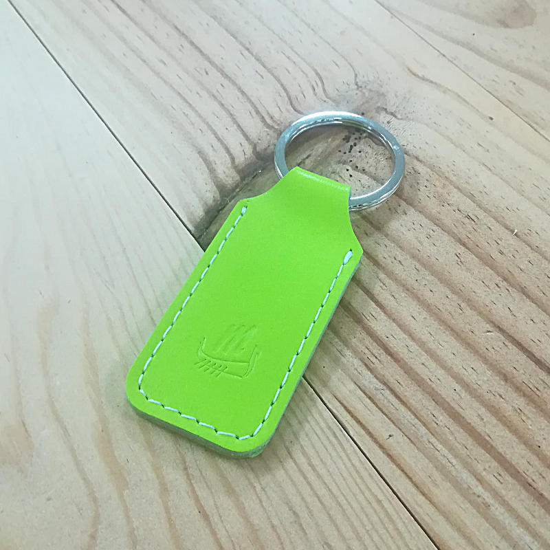 Porte clé cuir vert fluo made in france