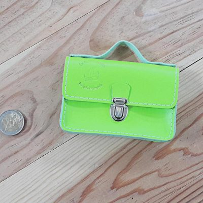 Porte monnaie cartable cuir vert fluo made in france