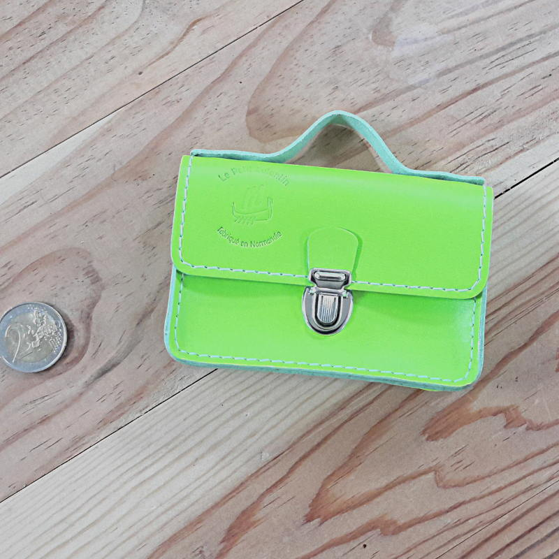 Porte monnaie cartable cuir vert fluo made in france