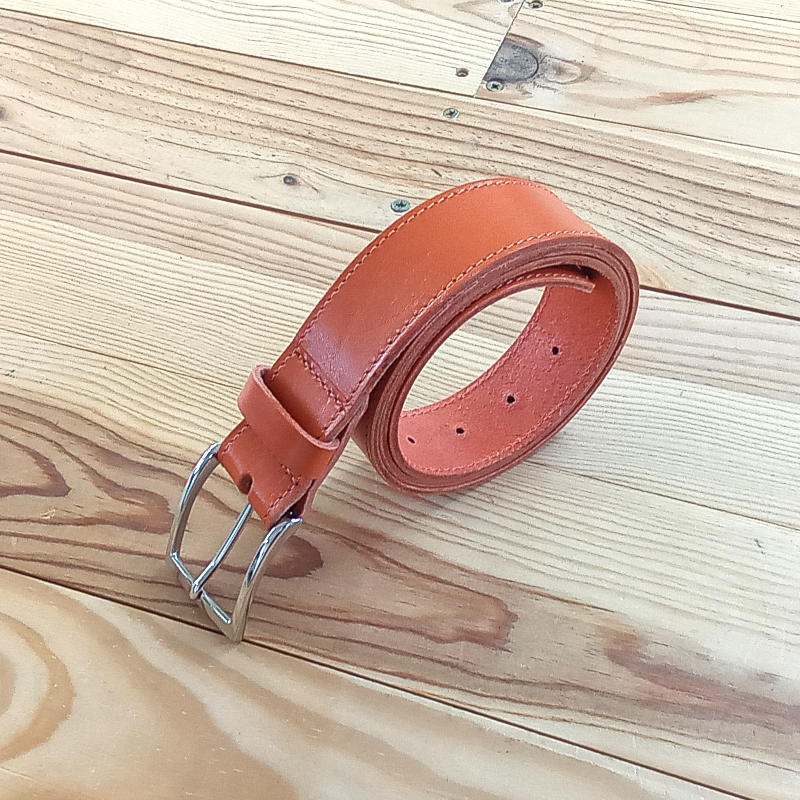 Ceinture cuir rouille orange 3.5 cm