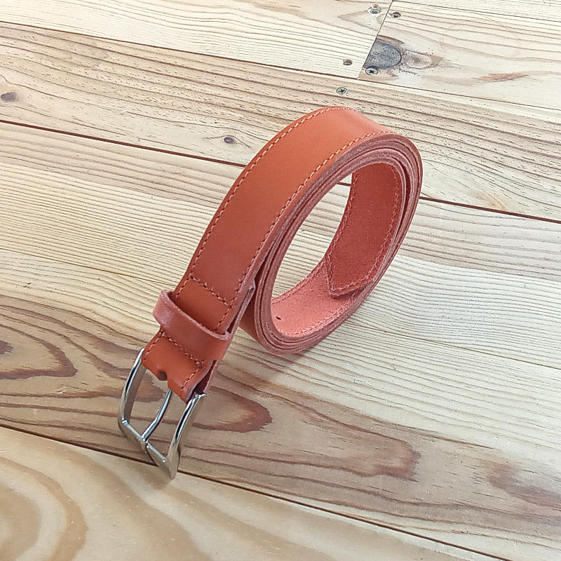 Ceinture cuir rouille orange 3cm